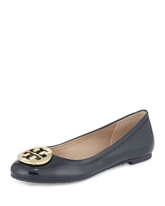 Reva Patent Leather Ballet Flat, Bright Navy