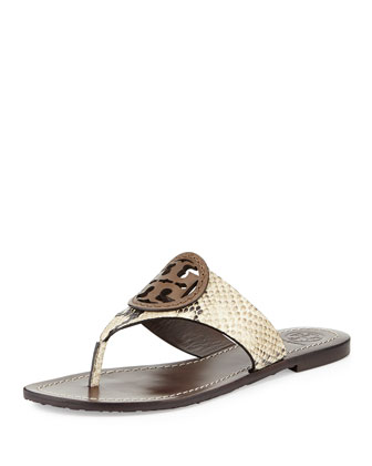 Louisa Logo Flat Sandal, Natural