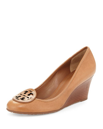 Louisa Leather Wedge Pump, Royal Tan