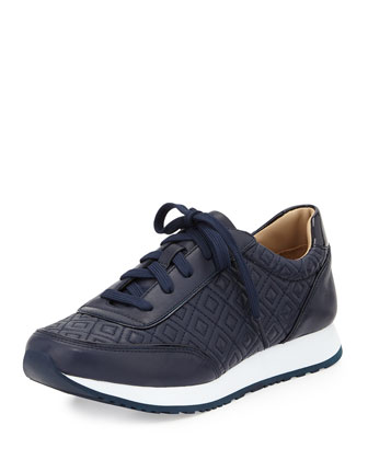 Clive Quilted Leather Sneaker, Tory Navy