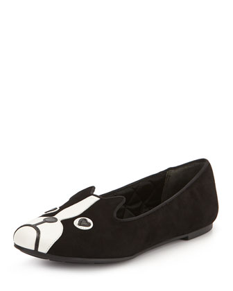 Shorty Dog Suede Slipper, Black