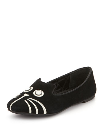 Rue Suede Cat Slipper, Black