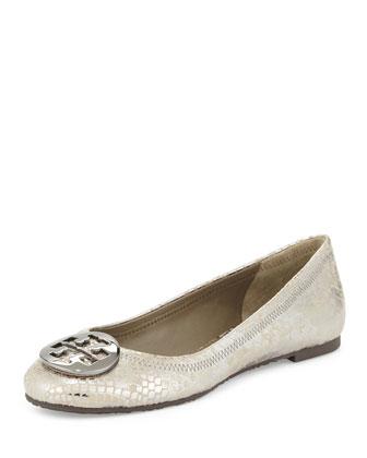 Reva Snake-Embossed Ballet Flat, Pewter
