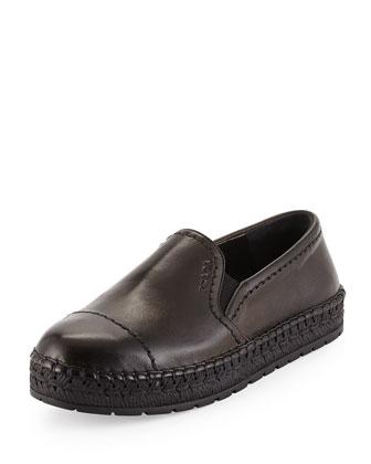Leather Slip-On Espadrille, Nero