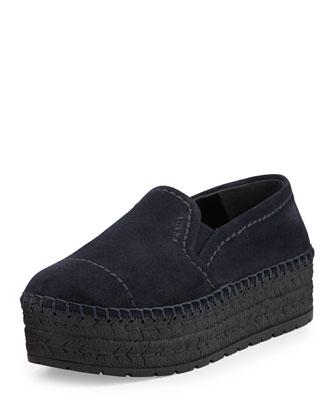 Suede Espadrille Slip-On Sneaker, Bleu