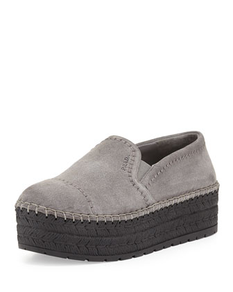 Suede Espadrille Slip-On Sneaker, Gray (Ghiaia)