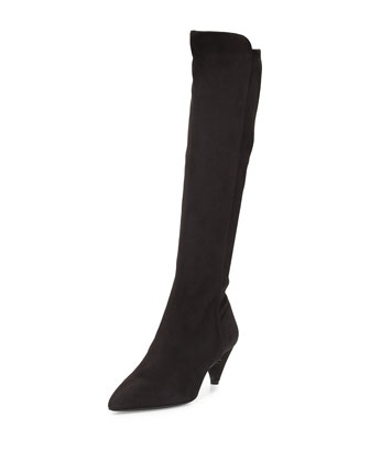 Suede Low-Heel Knee Boot, Black (Nero)