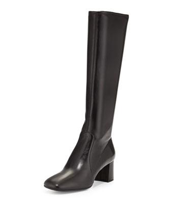 Napa Stretch Square-Toe Knee Boot, Black (Nero)