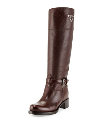 Cervo Antik Logo Riding Boot, Brown (Caffee)