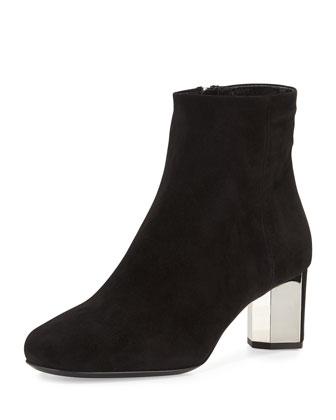 Mirrored-Heel Ankle Boot, Nero