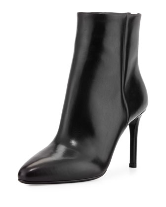 Vitello Back-Zip Ankle Boot, Black (Nero)