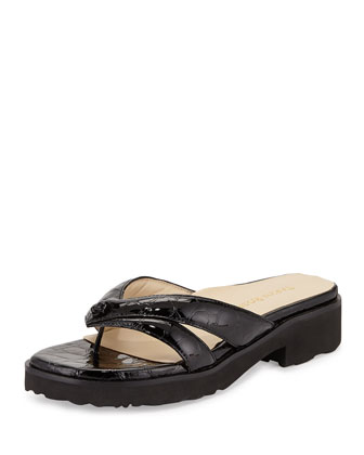 Tacy Double-Strap Thong Sandal, Black