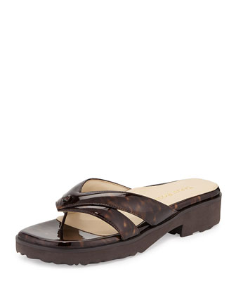 Tacy Double-Strap Thong Sandal, Tortoise