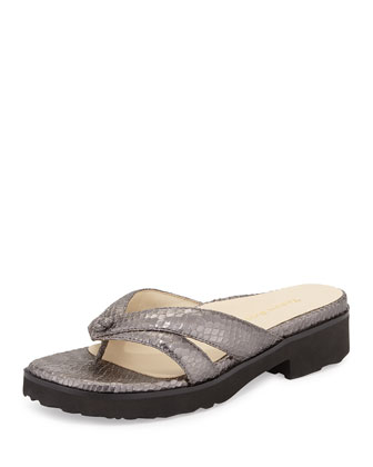 Tacy Double-Strap Thong Sandal, Pewter