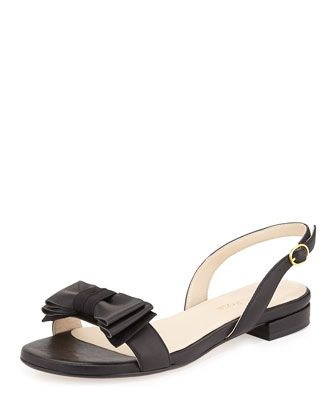 Inger Low-Heel Bow Sandal, Black