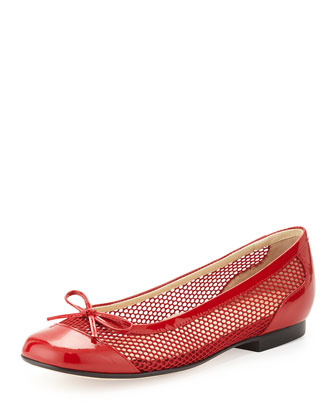 Blanch Mesh Ballerina Flat, Red