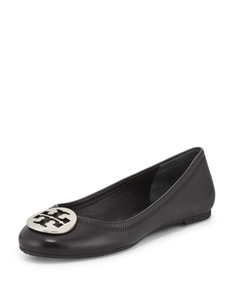 Reva Leather Ballerina Flat, Black
