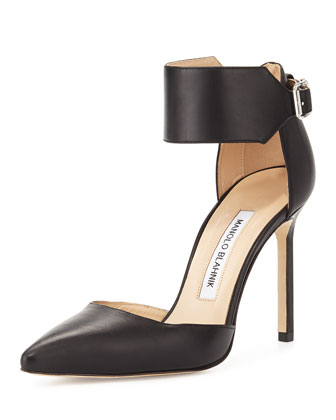 Chaantasta Ankle-Band Leather Pump, Black