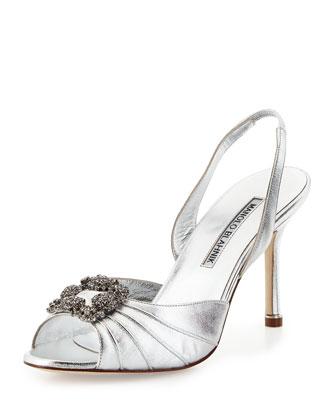 Cassia Crystal Slingback Sandal, Silver