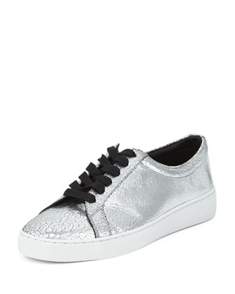 Valin Runway Crackled Leather Low-Top Sneaker, Silver