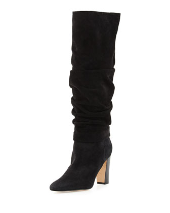 Brunchilee Slouchy Suede Knee Boot, Black