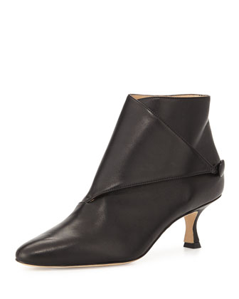 Diaz Leather Ankle Bootie, Black
