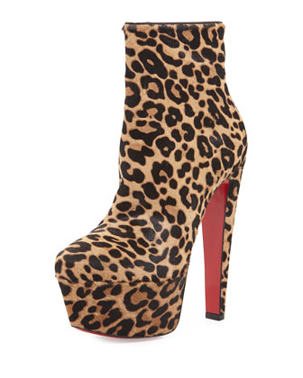 Fierce 160 Calf-Hair Red Sole Boot, Jaguar/Brown
