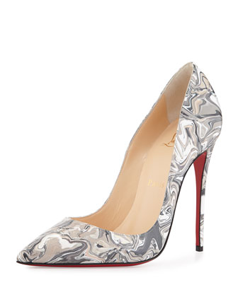So Kate Marbled Red Sole Pump, Black