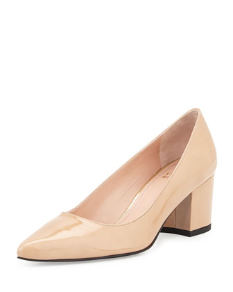 Firstclass Chunky Mid-Heel Pump, Adobe