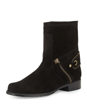 Freestyle Velour-Suede Flat Bootie, Black