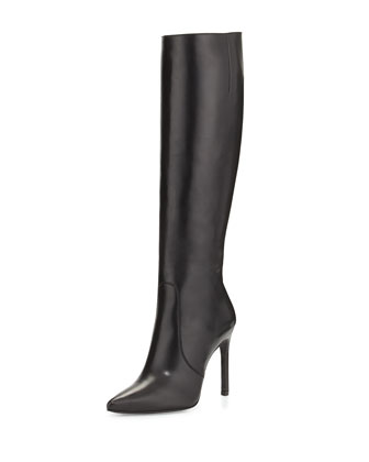 Hyper Pointed-Toe Knee Boot, Black