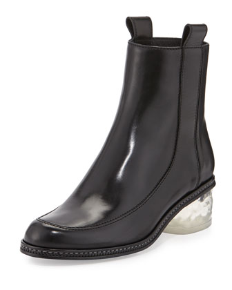 Leather Ice-Heel Boot, Black (Nero)