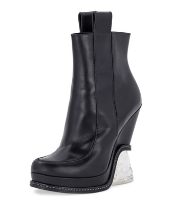 Leather Ice-Heel Boot, Black
