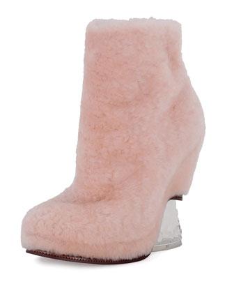 Shearling Fur Ice-Heel Boot, Light Rose