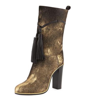 Metallic Calf-Hair Tassel Boot, Aged Gold