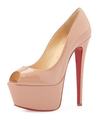 Jamie Patent Red Sole Platform Pump, Nude