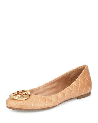 Quinn Quilted Ballet Flat, Light Oak Beige