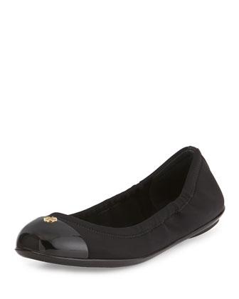 Janie Cap-Toe Ballet Flat, Black