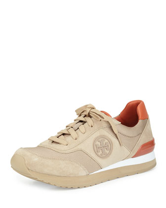 Gibb Suede & Napa Trainer Sneaker, Light Camel