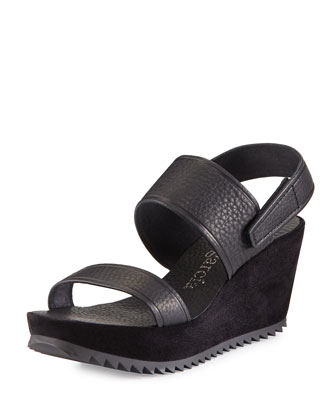 Francy Mid-Wedge Sandal, Black