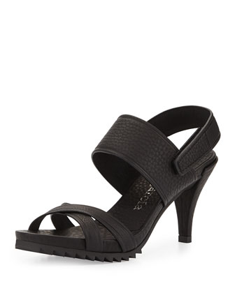 Whoopi High-Heel Crisscross Sandal, Black