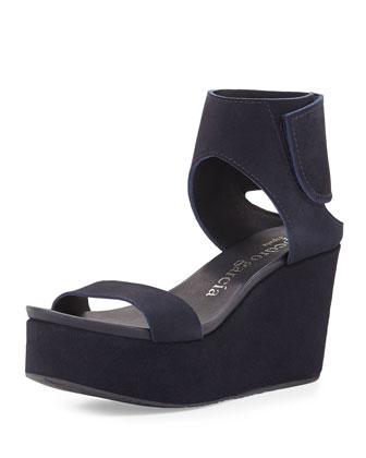 Darla Ankle-Cuff Platform Sandal, Blue