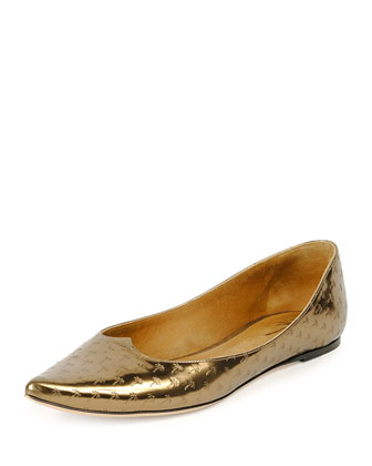 Palm-Embossed Leather Ballet Flat, Dark Brass