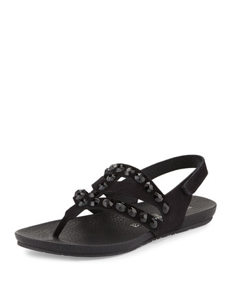 Jory Jewel-Embellished Sandal, Black