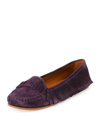 Suede Fringed Slip-On Moccasin, Dark Violet