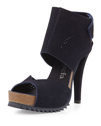 Petal Perforated Leather Sandal, Blue