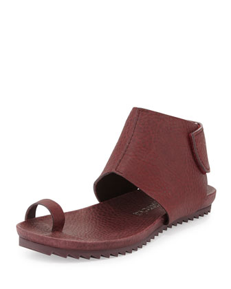 Vania Leather Toe-Ring Sandal, Port