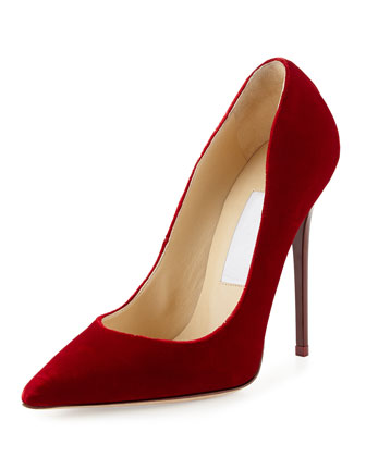 Anouk Velvet High-Heel Pump, Red