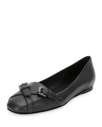 Napa Jeweled-Buckle Loafer, Black