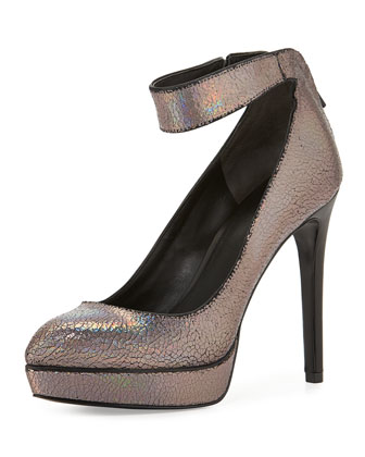 Avi Platform Pump with Ankle Strap, Silver
